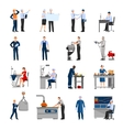 Factory Workers People Icons Set vector image vector image
