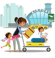 family woman with girls in taxi waiting transfer vector image vector image