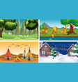 four scenes with animals and parks vector image vector image