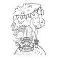 fox with cake and balloons helium in the landscape vector image