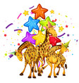 giraffe on party template vector image vector image