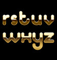 gold alphabet small letters isolated on black vector image