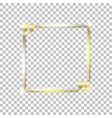 Gold shiny glowing square on a isolated background