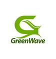 green wave initial letter g logo concept design vector image vector image