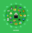 hacker round icons set vector image vector image