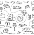 hand drawn travel doodles seamless pattern vector image