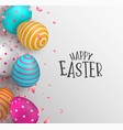 happy easter card of color eggs and spring flower vector image vector image