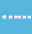 healthy smiling white tooth icon set line crying vector image vector image