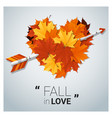 hello autumn with heart shape leaves and arrow vector image vector image