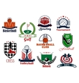 Individual and team sport games icons set vector image