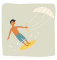 kite surfer boy catching wave vintage poster vector image