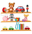 many toys and books on wooden shelves vector image vector image