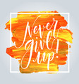 never give up hand drawn inspirational quote vector image