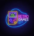 retro games neon sign bright signboard vector image
