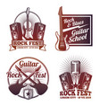 rock and roll music labels vintage heavy vector image vector image