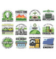 save nature stop environment pollution eco icons vector image vector image