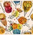 seamless pattern with watercolor ice cream and vector image vector image
