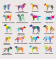 set colorful mosaic dogs silhouettes-8 vector image vector image