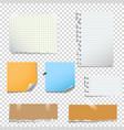 set notes paper on transparent background vector image vector image