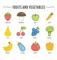 Set of fruits and vegetables isolated on white vector image vector image