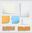 set of notes paper on transparent background vector image vector image