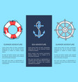 set of posters for sea and summer adventures vector image vector image