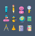 set of school funny office supplies characters vector image