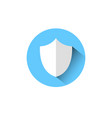 shield icon blue round on white background vector image vector image