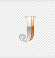 silver and gold font symbol alphabet letter j vector image
