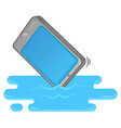 smartphone fall in water vector image vector image