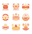 summer badges travel labels and logos palm tree vector image vector image