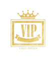vip club logo design luxury golden elegant badge vector image