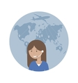 Woman Dispatcher and Map of the World vector image