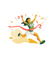 woman running to cross finish line in competition vector image