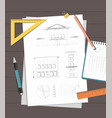 workplace drawing house plan vector image vector image