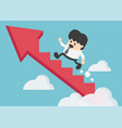 young businessman climbing arrow stairs to vector image vector image