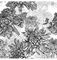 Black and white background with chrysanthemums vector image