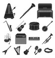 musical instrument black icons in set collection vector image