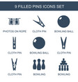 9 pins icons vector image vector image