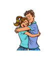 a couple hug each other love and a romantic date vector image