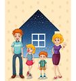 A family in front of the house vector image