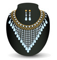 a necklace and earrings with pearls vector image vector image