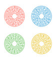 abstract round maze a set of four labyrinths an vector image vector image