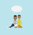 african man woman using laptop sitting couple chat vector image