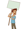 angry protester with white sign vector image vector image