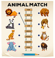 Animal matching with pictures and words vector image vector image