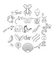 avifauna icons set outline style vector image vector image