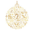 bauble silhouette with xmas holiday linear icons vector image vector image