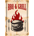 bbq grill poster template with burger on grunge vector image vector image