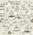 beige seamless patterns with coffee set cup vector image vector image